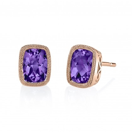 14 karat rose gold earrings with checkerboard cushion-cut amethyst in milgrain bezel; filigree underbridging; approx. 1.46cttw