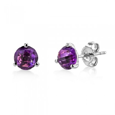 14 karat white gold earrings; 3-prong martini setting with 6mm round checkerboard-cut amethyst; app. 1.42cttw