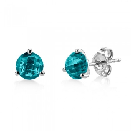 14 karat white gold earrings; 3-prong martini setting with 6mm round checkerboard-cut London blue topaz; app. 1.86cttw