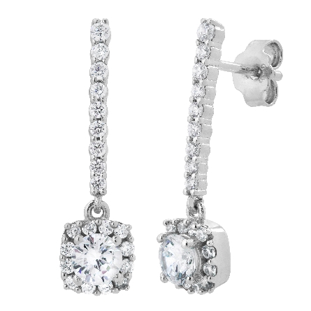 sterling silver earrings; cushion shaped halo dangle below long bar; all set with cubic zirconia