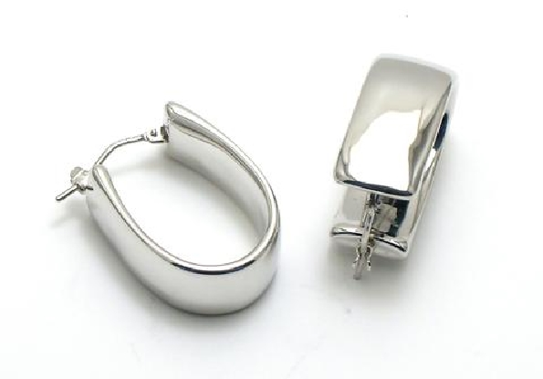 14 karat white gold oval hoop earrings; approx. 10mm wide by 25mm long; resin filled and dent resistant; hinged post