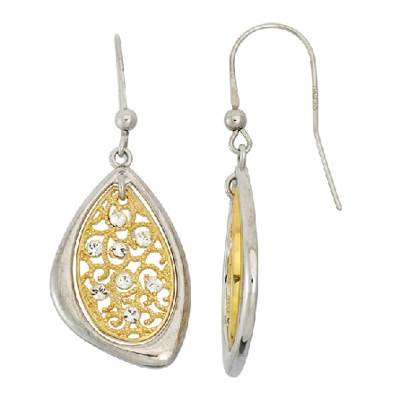 sterling silver two tone earrings; gold plated oval filigree with crystals; silver triangular frame on French wire; Jayden Star JS1922/E/YW