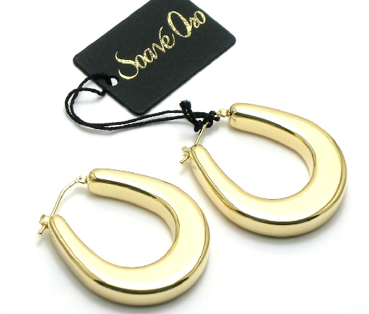 14 karat yellow gold flat tapered teardrop hoop earrings; resin filled and dent resistant