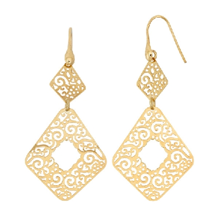 sterling silver gold plate french wire earrings with cutout geometric shaped dangles
