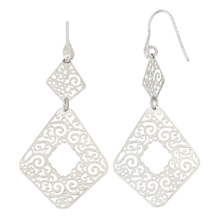 sterling silver French wire earrings with two pierced geometric shaped dangles