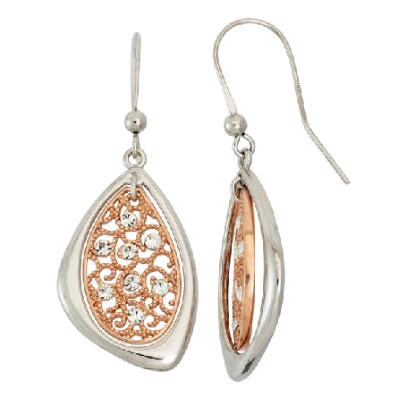 sterling silver with rose gold plate French wire earrings; oval beaded filigree with crystals; triangular polished frame