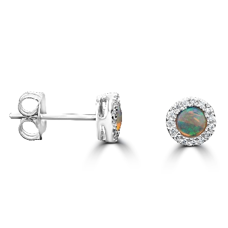 14 karat white gold earrings; round opal center with diamond halo (.09cttw)
