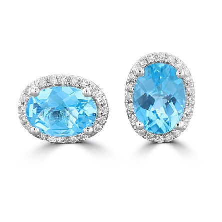 14 karat white gold post earrings with oval checkerboard-cut blue topaz center and diamond halo (1.62cttw topaz; .12cttw diamond)