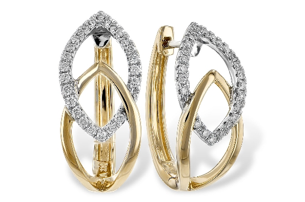 14 karat two tone hinged hoop earrings; top white gold open marquise shape is set with diamonds (.25cttw) intertwined with lower polished yellow gold of the same shape