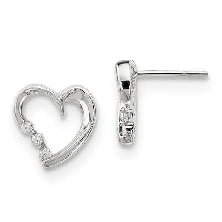 14 karat white gold open heart earrings with three diamonds on one side near point on each; .12cttw