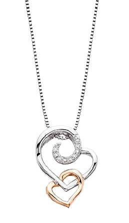 sterling silver pendant; upper heart has diamonds set around one top loop; intertwined smaller heart at the bottom has a rose gold finish; .015cttw; engraved on the sides edges is   You ve captured my heart