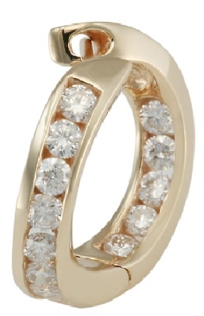 14 karat yellow gold inside-out diamond hoop earrings with a twist; channel-set with 1.12cttw G/SI1