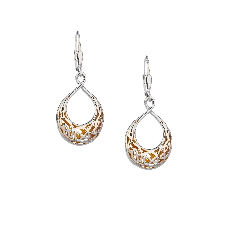 These leverback teardrop earrings are part of Keith Jack s Window to the Soul Collection. They are made of sterling silver with a 22 karat gold gilding on the inside. Wear thee eternity knot earrings as a reminder that your soul is what binds your ph