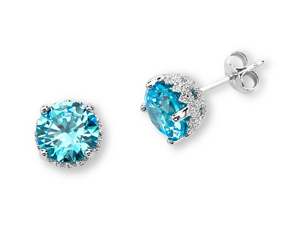 sterling silver earrings; round blue topaz-colored cubic zirconia in a filigree setting