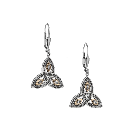 These earrings are part of Keith Jack s Trinity Knot Collection. Made of sterling silver; 10 karat yellow gold; and cubic zirconia; they dangle from lever backs. Wear these earrings to represent the three entities – Maiden; Mother and Wise Woman.