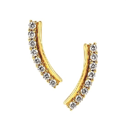 10 karat yellow gold earrings with a diamond-set curve shadowed by a polished bar; .13cttw I/I1