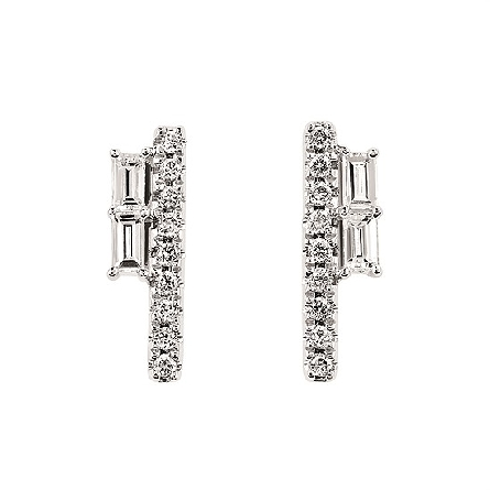 14 karat white gold earrings; vertical row of round diamonds with shorter row of baguette diamonds; .25cttw I/I1
