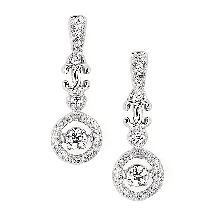 14 karat white gold earrings with a   shimmering   diamond in the center of an open circle hanging from other diamond-set shapes;  milgrain trim; .20cttw