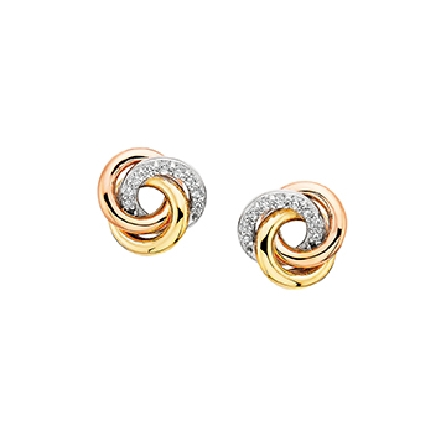 sterling silver earrings; three interlocking open circles; one yellow gold plated; one rose gold plated; one set with cubic zirconia