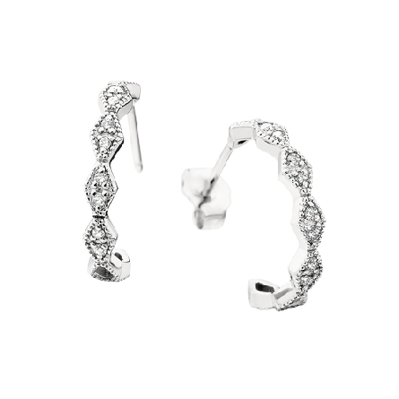 14 karat white gold hoop earrings on posts; milgrain-edged panels set with diamonds; .13cttw GH/SI