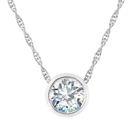 sterling silver pendant with bezel-set 8mm round CZ; on rope chain