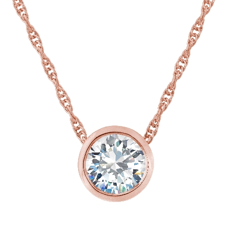 sterling silver pendant with rose gold plating and bezel-set 8mm round CZ; on rope chain
