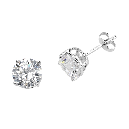 sterling and CZ four prong stud earrings; 2 carat look