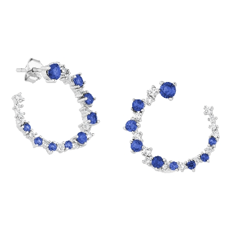 sterling silver open circle earrings with created blue sapphires and white topaz