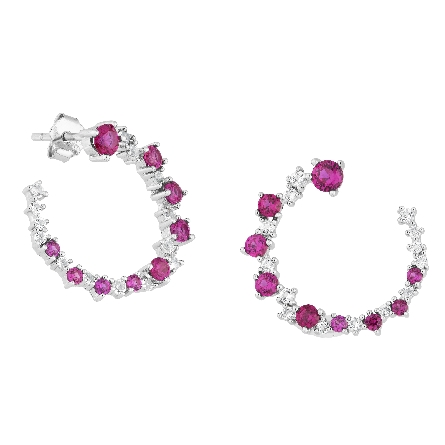 sterling open circle earrings with created ruby and white topaz