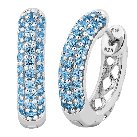sterling silver hinged hoop earrings pave-set with Swiss blue topaz