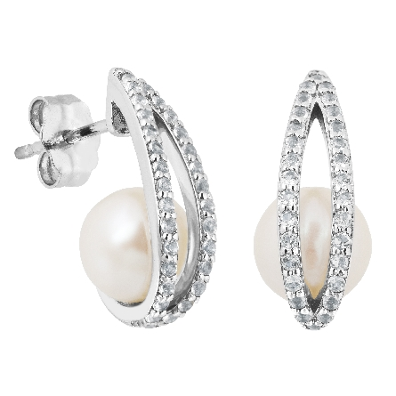 sterling earrings; freshwater pearl with white topaz-set bars overlaying the front