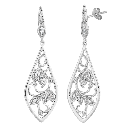 sterling silver long dangle filigree earrings set with diamonds