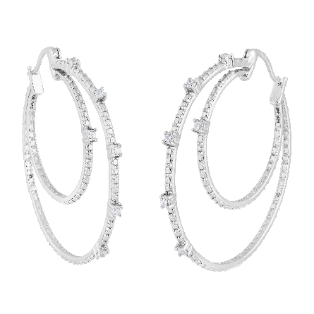 sterling double hoop earrings set with CZ; hinged post closure