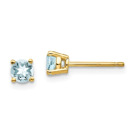 14 karat yellow gold four prong stud earrings; each with a 4mm round aquamarine; friction posts and backs