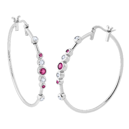 sterling hoop earrings with bezel set created rubies and white topaz