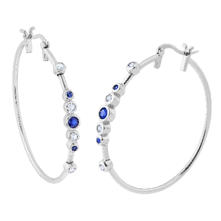 sterling hoop earrings with bezel set created sapphires and white topaz