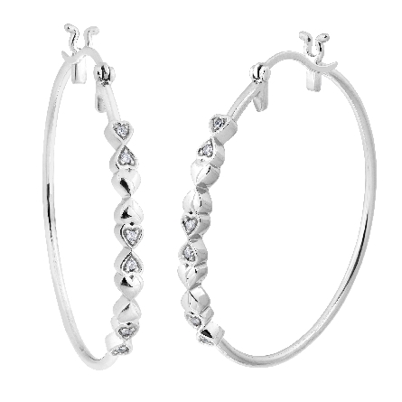 sterling hoop earrings with CZs in heart shapes