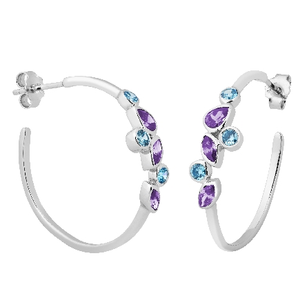 sterling silver hoop earrings; bezel-set amethyst and blue topaz in various shapes; friction post