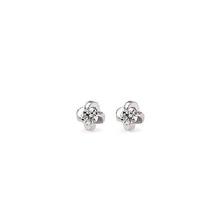 14 karat white gold diamond stud earrings with four prong twist settings; friction posts and backs