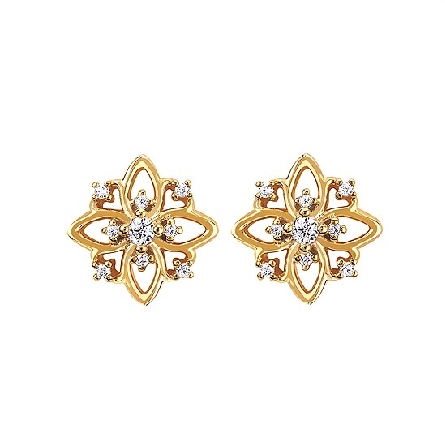 14 karat yellow gold earrings; open polished marquise shapes with scattered diamonds; .10cttw I/I1