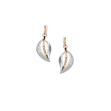 These dangle earrings are part of Keith Jack s Celtic-inspired Leaves Collection. They are enhanced with 10 karat rose gold and white sapphires. The Trinity Leaf expresses the unending cycle of birth; death and creation.