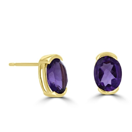 14 karat yellow gold stud earrings with 6x8mm oval amethyst set with half bezels; 2.17cttw