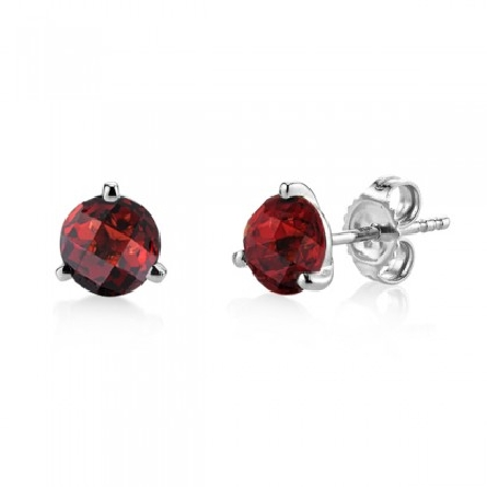 14 karat white gold three prong martini stud earrings; each with a 6mm checkerboard-cut garnet; approx. 1.96cttw
