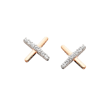 10 karat rose gold earrings from the   Sweet Temptations   collection; two bars making an X; one covered with diamonds; .06cttw