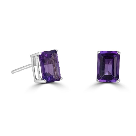 14 karat white gold stud earrings with 7x5 emerald cut amethyst; 1.85cttw