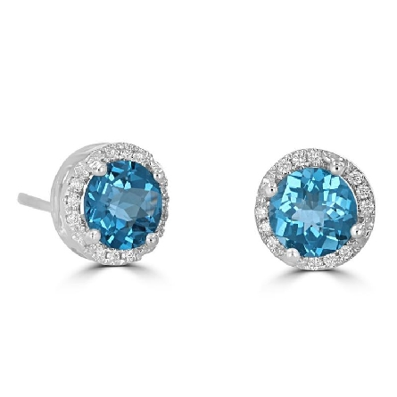 14 karat white gold earrings; 6mm round checkerboard cut blue topaz with diamond halo; .10cttw diamond
