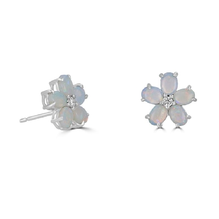 14 karat white gold earrings; cluster of five oval opals making a flower shape with a diamond in the center