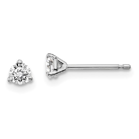 14 karat white gold 3-prong stud earrings with friction posts and backs; set with lab-grown round brilliant-cut diamonds with a total weight of .27 carat; F/SI1-SI2; GSI report number 19864800304 laser inscribed on girdles