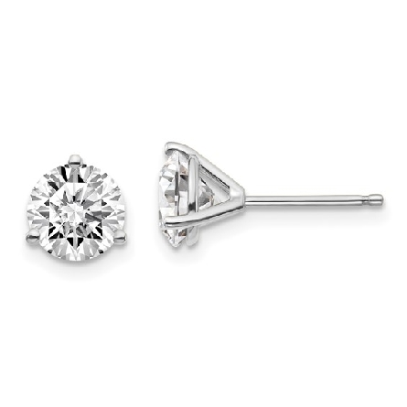 14 karat white gold 3-prong stud earrings with friction posts and backs; set with lab-grown round brilliant-cut diamonds with a total weight of 1.48 carat; I/VVS2; GCal report numbers 302881487 and 302881472 are laser inscribed; one on each diamond s