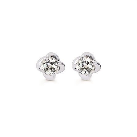 14 karat white gold diamond stud earrings in a four prong twist setting with friction posts and backs; 1/2cttw I/I1